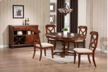 Sunset Trading 5pc Andrews Pedestal Dining Set in Chestnut Finish - Sunset Trading