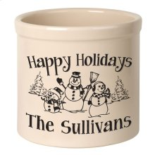 Personalized Snowman Family 2 Gallon Stoneware Crock - Black Engraving / Bristol Crock