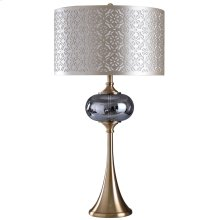 Aneira Mist  Elegant Statement Making Glass and Metal Body Traditional Table Lamp with Laser Cut Fa