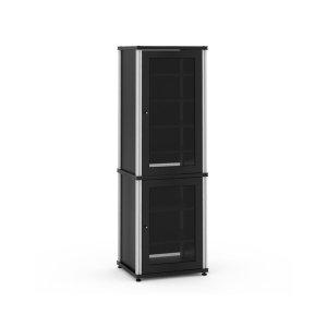 Salamander DesignsSynergy Solution 703, Quad-Width AV Cabinet, Black with Aluminum Posts