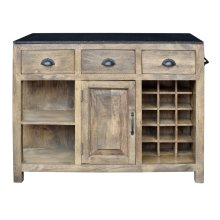 Bengal Manor Mango Wood and Granite Kitchen Island