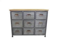 9 Drawer Accent Cabinet-galvanized Board Drawer Front-antique Black Finish -su
