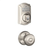 Camelot trim Keypad Deadbolt paired with Georgian Knob Hall & Closet Lock - Satin Nickel