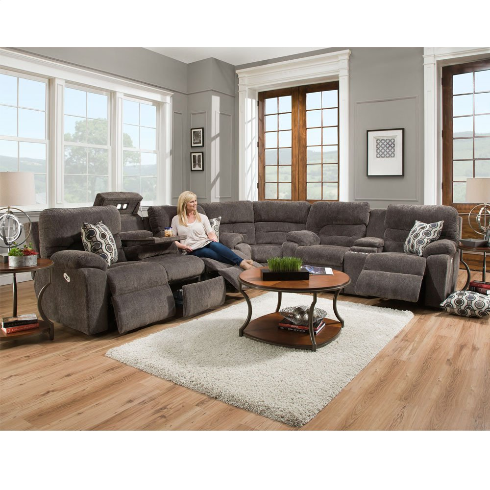 Power Reclining/Power Headrest Reclining Console Loveseat w/Drop Down Table, Lights, Drawer & USB