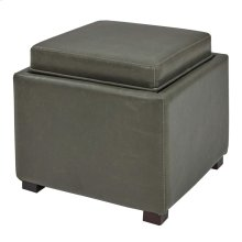 Cameron Square Bonded Leather Storage Ottoman w/ tray, Vintage Gray