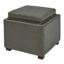 Cameron Square Bonded Leather Storage Ottoman w/ tray, Vintage Gray