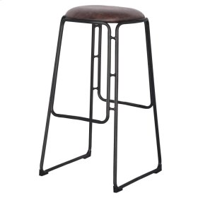 Oasis PU Metal Bar Stool with Black Legs, Vintage Coffee Brown