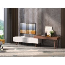Modrest Noelle Modern White & Walnut TV Stand