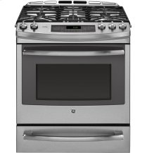 "GE Profile Series 30"" Dual Fuel Slide-In Front Control Range with Warming Drawer"