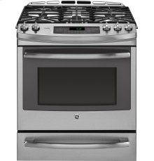 "GE Profile™ Series 30"" Dual Fuel Slide-In Front Control Range with Warming Drawer"