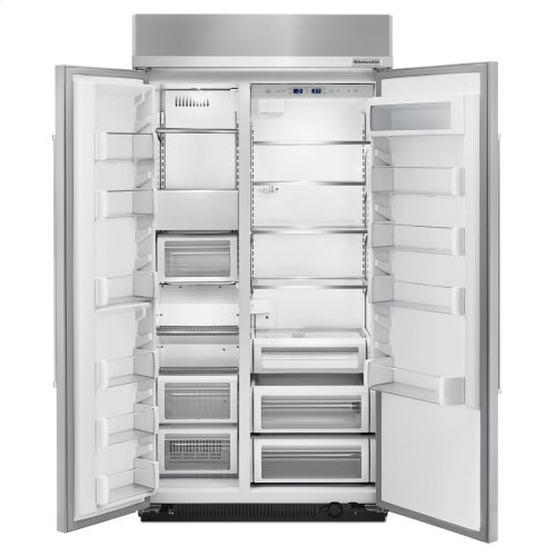 25.5 cu. ft 42-Inch Width Built-In Side by Side Refrigerator with PrintShield Finish - PrintShield Stainless