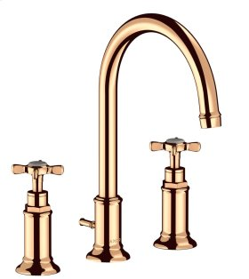 Polished Bronze 3-hole basin mixer 180 with cross handles and pop-up waste set
