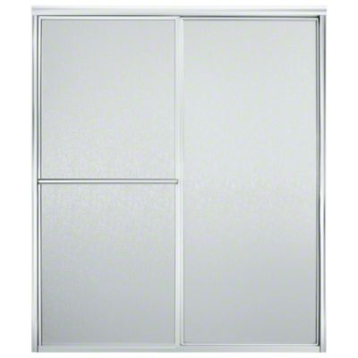 "Deluxe Sliding Shower Door - Height 70"", Max. Opening 59-3/8"" - Silver with Rain Glass Texture"