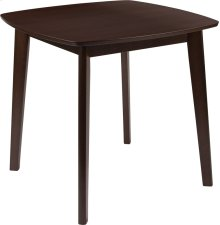 Whitman 31.5'' Square Espresso Finish Wood Dining Table with Clean Lines and Braced Legs