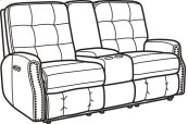Devon Leather Power Reclining Loveseat with Console, Power Headrests, and Nailhead Trim