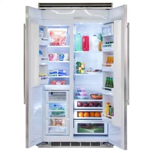 "MarvelProfessional Built-In 42"" Side by Side Refrigerator Freezer - Marvel Professional Built-In 42"" Side-by-Side Refrigerator Freezer - Stainless Steel Doors, Slim Designer Handles"