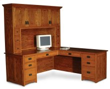 Prairie Mission L-Shape Desk, Prairie Mission L-Shape Desk, Right Return, Flat-Panel Back