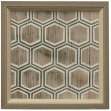 Driftwood Geometry IV  Made in USA  2 Step Dimensional Faux Wood Frame  Textured Print  Hanging