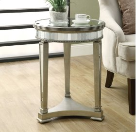 "ACCENT TABLE - 20""DIA / BRUSHED SILVER / MIRROR"