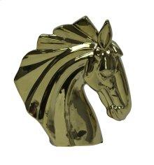 Gold Ceramic Horse Head