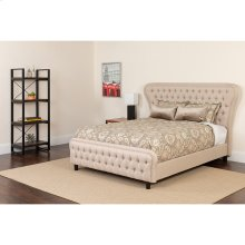 Cartelana Tufted Upholstered Full Size Platform Bed in Beige Fabric and Gold Accent Nail Trim with Pocket Spring Mattress