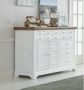 Server - Light Oak/Distressed White Finish