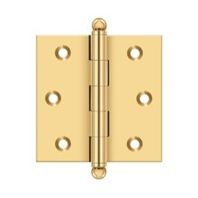 "2-1/2""x 2-1/2"" Hinge, w/ Ball Tips - PVD Polished Brass"