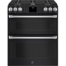 """OPEN BOX GE Café Series 30"""" Slide-In Front Control Gas Double Oven with Convection Range"""