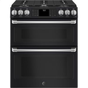 "GE CafeGE CAFEGE Caf(eback) Series 30"" Slide-In Front Control Gas Double Oven with Convection Range"