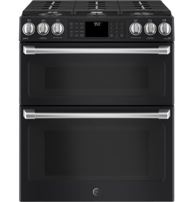 "GE Café Series 30"" Slide-In Front Control Gas Double Oven with Convection Range Product Image"