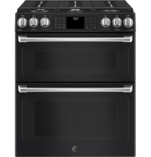 "GE Café Series 30"" Slide-In Front Control Gas Double Oven with Convection Range"
