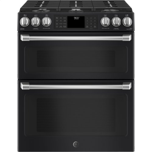 """GE Café Series 30"""" Slide-In Front Control Gas Double Oven with Convection Range"""