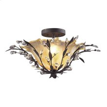 Circeo 2-Light Semi Flush in Deep Rust with Caramel Hand-formed Glass