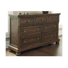 Ashley - Flynnter - Medium Brown 4 Pc. Queen Bedroom Set - Dresser, Mirror, Headboard, Footboard & Rails