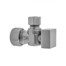 "Satin Nickel - Quarter Turn Angle Pattern 5/8"" O.D. Compression (FITS 1/2"" Copper) x 3/8"" O.D. Supply Valve with Square Handle"