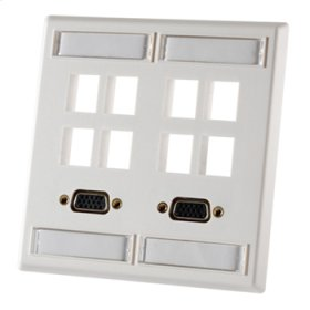 Double gang plastic faceplate, holds eight Keystone jacks or modules, Electrical Ivory