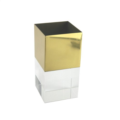 Gold Metal/crystal Vase, Square