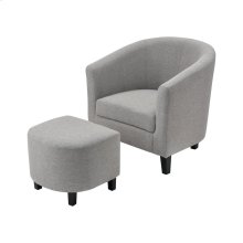 Elana Grey Linen Chair With Black Legs