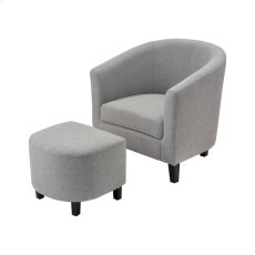 Elana Grey Linen Chair With Black Legs Product Image