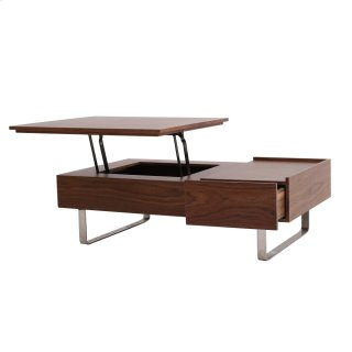 Denzel KD Lift-Top Rectangular Coffee Table w/ Storage and Drawer, Walnut