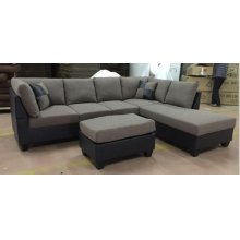BROWN LINEN PU TWO TONE SECTIONAL