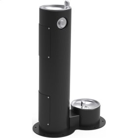 Elkay Outdoor Fountain Pedestal with Pet Station, Non-Filtered Non-Refrigerated, Freeze Resistant, Black