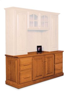 Classic File Drawer Credenza, Classic Hutch Top with Long Doors, 73 3/4""