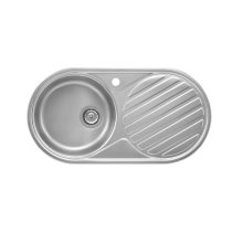 Stainless steel single bowl kitchen sink and right drainer