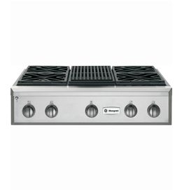 "36"" Professional Gas Cooktop with 4 Burners and Grill"