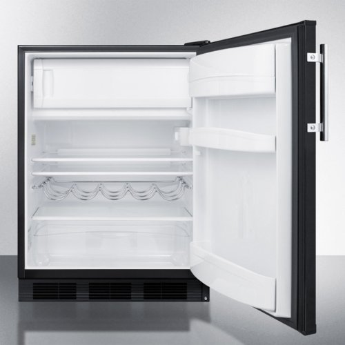 Freestanding Counter Height Refrigerator-freezer for Residential Use, Cycle Defrost With Deluxe Interior and Black Finish