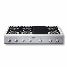 """48"""" Cooktop with 6 Star Burners (2 W/ ExtraLow®) and Electric Griddle"""
