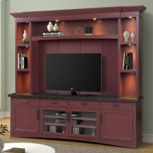 Americana Modern Cranberry 92 in. TV Console with Hutch with LED Lights