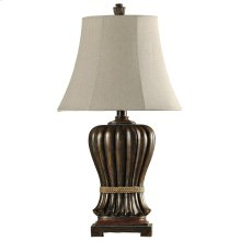 Saratoga carved table lamp Natural linen shade