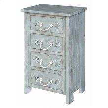 Bayside Blue Shell 4 Drawer Chest
